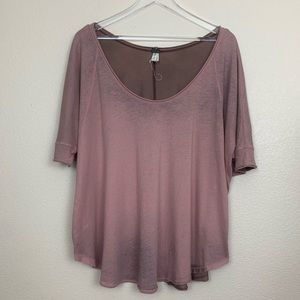 Free People Oversized Mauve Tee Size Small